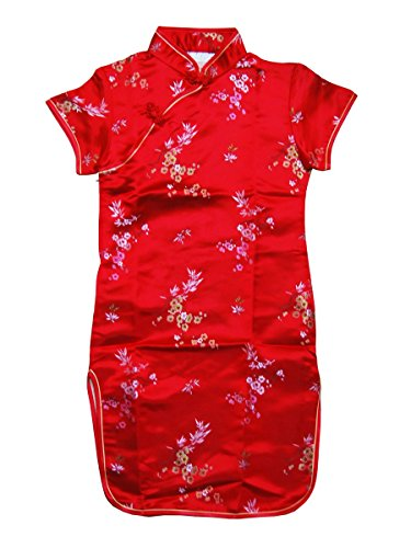 Blossom and Leaves Little Chinese Qipao Dress Red (4T)