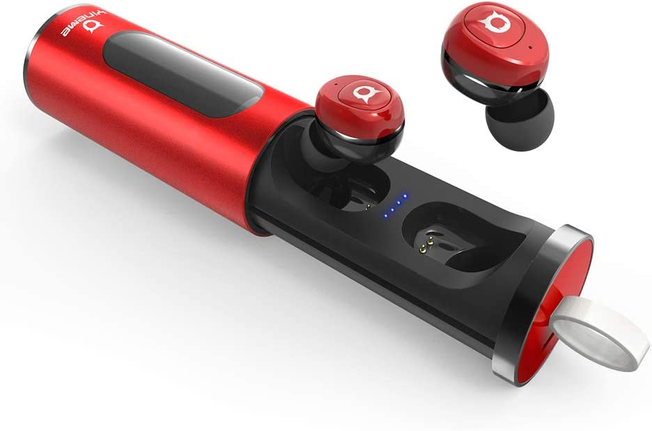 Wireless Earbuds Bluetooth 5.0 True Wireless Earbuds,16H Playtime HIFI Stereo Bluetooth earbuds Binaural Microphone,IPX5 Waterproof Single Twin Mode Mini Portable Charging Box RED