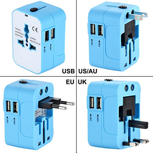 Universal Power Adapter Kit,Wacye Dual Usb International Travel Adapter Charger Converter for Europe USA UK AUS China iPhone Cell Phone Laptop Camera (Blue,2 USB)
