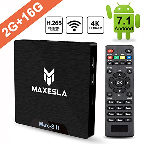 TV Box Android 7.1 Newest - Maxesla MAX-S II Smart TV Box with 2GB RAM + 16GB ROM, Upgrade Amlogic S905W Chipset, True 4K UHD Playing, Support H.265 Video Decoder, 2.4GHz Wifi TV Box + Remote Control (Set Ram Via Chip)