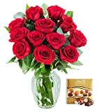 #2: KaBloom The Romantic Classic Red Rose Bouquet of 12 Fresh Cut Red Roses (Long Stemmed) with Vase and One Box of Lindt Chocolates