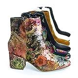 Thirsty06M 02 Tan Multi Velvet Oriental Floral Printed Block Heel Ankle Booties, Women's Shoe -5.5