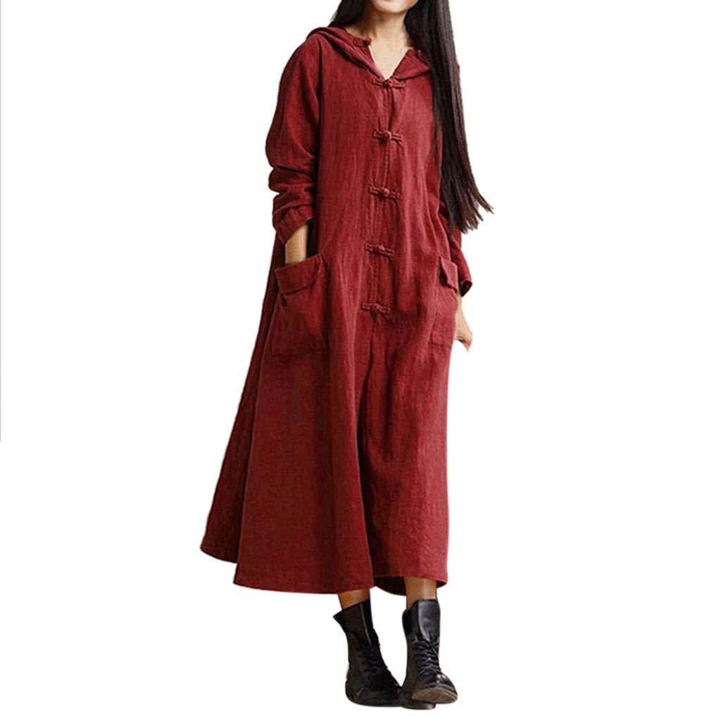 REYO ♥ [S-5XL] Clearance Sale Women's Dresses Hooded Maxi Floor-Length Coat Jacket Dress Long Sleeve Mini Dress by REYO-Womens Sweatshirt