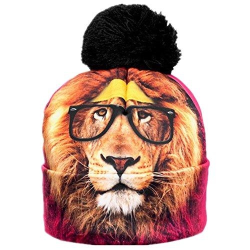 (Women Men Fashion Winter 3D Beanies Cap Cup Hip Hop Sports Pom Pom Hat (Cute Lion))