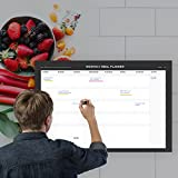 Erasable Monthly Meal Planner - 18''x27'' inch | Menu Prep for Kitchen Wall or Fridge - Black