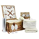 Luxury Westminster 2 Person Picnic Basket Set - Includes many Accessories - Gift ideas for Black Friday, Cyber Monday, Christmas presents, Birthday, Wedding gifts, Anniversary
