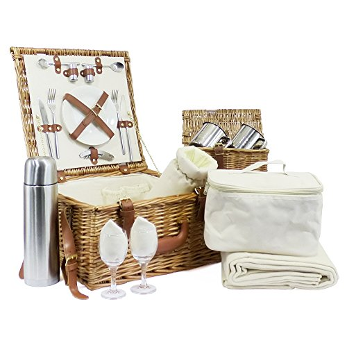 Luxury Westminster 2 Person Wicker Picnic Basket Set