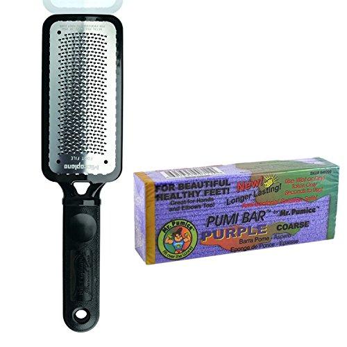 Microplane Foot File Colossal Callus Remover Black Color + Mr Pumice Coarse Purple Pumi Bar Handle Microplane