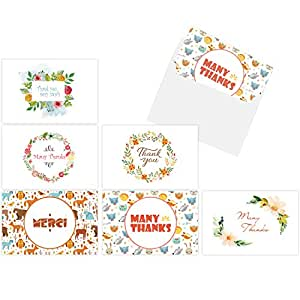 Ohuhu 48 Thank You Cards, Thank U Card of 6 Designs, Folded Cards Design W/ 48 Envelopes for Wedding, Graduation, Baby Shower