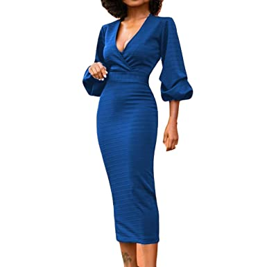 b8f6130eedff LUBITY Robe Femme Sexy Profonde Col en V Lanterne À Manches Longues Taille  Bandage Robe Taille