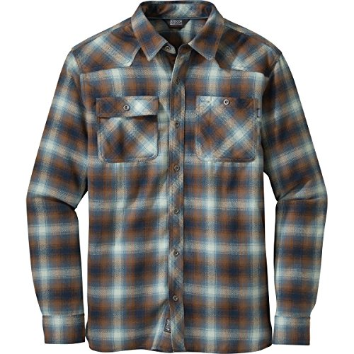 Outdoor Research Men's Feedback Flannel Shirt, Large - Night/Saddle (Flannel Label)