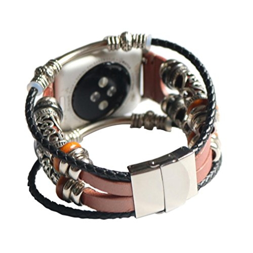 Price comparison product image Tiean Vintage Leather Beaded Bracelet Replacement Wristband Strap for Apple Watch Series 1 / 2 / 3 38mm 42mm (Rose Gold,  38mm)