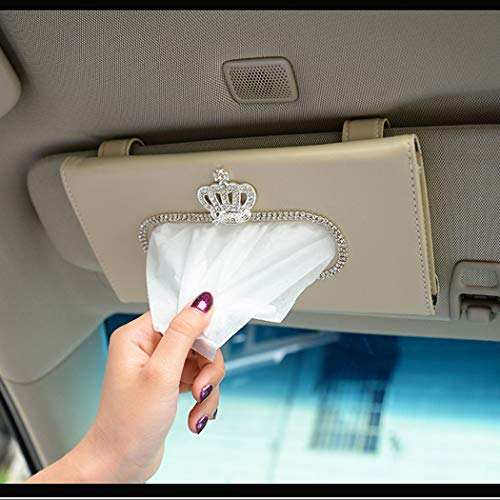 Alusbell Crown Crystal Auto Sun Visor Tissue Box Holder PU Leather Bling Bling Car Interior Accessories Paper Towel Storage Bag (Beige)