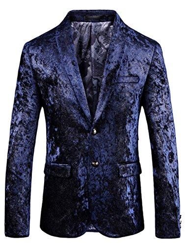 Velveteen Jacket Blazer - Men's Velveteen Long Sleeve Lapel Two Button Casual Blazer Jacket Coat, Navy Floral, US Large/44 = Tag 4XL