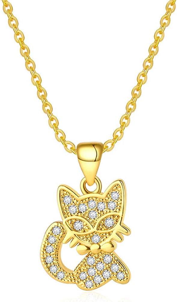 fangfanger Chapado en Oro de 24 Quilates de joyería Que Hace señas Collar de Gato Pendientes Pendientes Conjunto Pendientes de Piedras Preciosas Diamantes Damas simulación Oro
