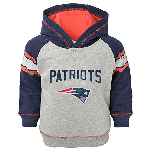 NFL Infant 'Classic Stripe' French Terry Pullover Hoodie-Heather Grey-12 Months, New England Patriots