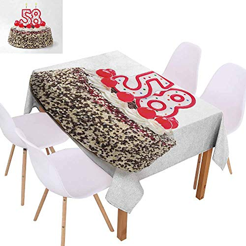 UHOO2018 58th Birthday,Printed Tablecloth,Birthday Cake Photograph with Cherries and Yummy Effects Sweet Age Picture,Stain Resistant, Wrinkle Resistant,Multicolor,50
