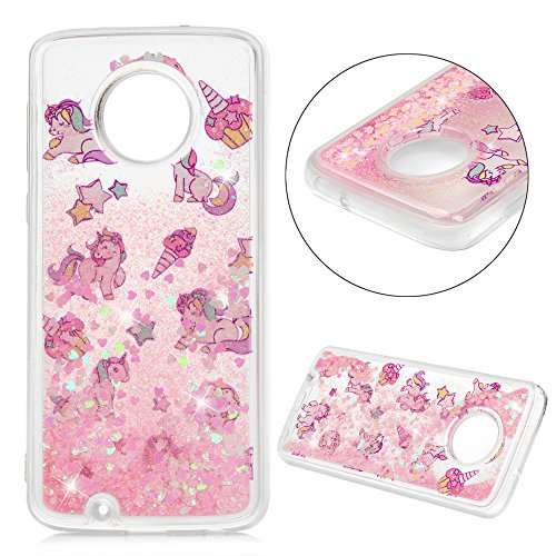 Moto G6 Case, Liquid Glitter Case Bling Sparkle Shiny Flowing Moving Love Hearts Cover Clear Ultra Slim Protective TPU Bumper for Moto G6 - Unicorn -