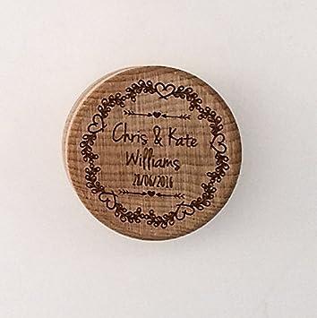 Caja para anillos de boda, de madera, con diseño floral, grabado con láser, para proposición de matrimonio, personalizable: Amazon.es: Hogar