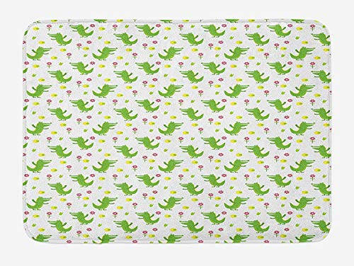 (Alligator Bath Mat, Happy Crocodile with Flowers Joyful Playroom Child Zoo Safari Cartoon, Plush Bathroom Decor Mat with Non Slip Backing, 23.6 W X 15.7 W Inches, Lime Green Yellow Pink)
