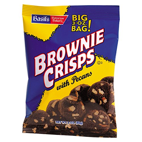 Basils Bavarian Bakery Brownie Crisps with Pecan 3 Oz (Pack of 48)