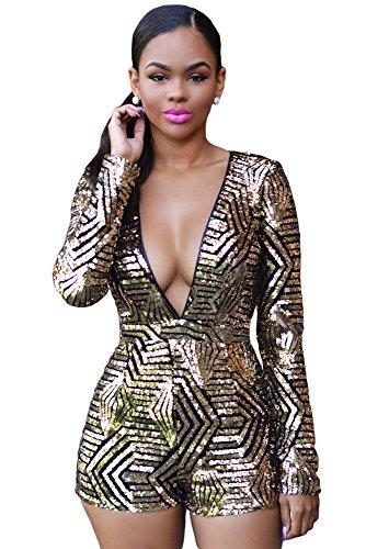 Neuf pour femme Noir et Doré à paillettes Barboteuse JumpSuit Combinaison Catsuit Club Wear Taille UK 12EU 40