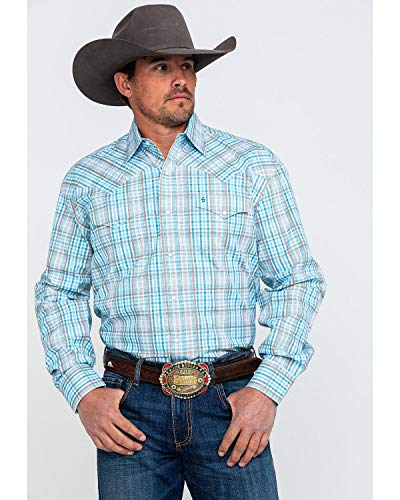 - Stetson Men's Small Plaid Long Sleeve Western Shirt Blue X-Large