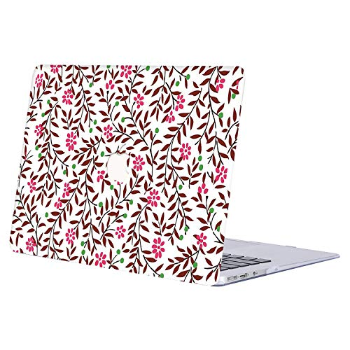 MacBook Air 13 Inch Case 2019 2018 Release A1932, AJYX Plastic Pattern Hard Shell Cover for MacBook Air 13.3 inch with Retina Display Touch ID, R435 Floral (201 Loose Id)