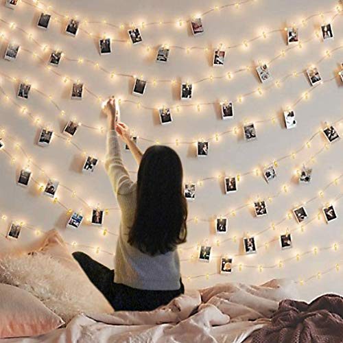 Led Photo Clip String Lights Indoor String Lights Seasonal Lighting Outdoor String Lights for Hanging Photos Cards Memos Home/Halloween/Birthday/Party Decorations Battery Powered White 30 Clips