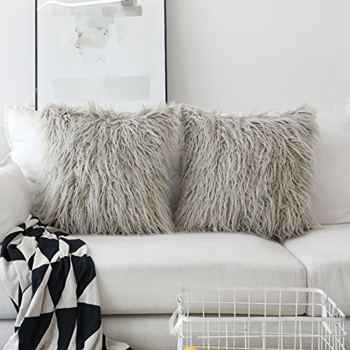 HOME BRILLIANT Set of 2 Decorative Luxury Series Merino Throw Pillow Case Mongolian Faux Fur Cushion Cover 18