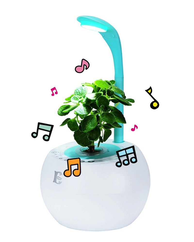 Indoor Smart Hydroponic Flowerpot Plant Growth Chamber LED Grow Light USB Charge Mint-Green with Bluetooth Speaker