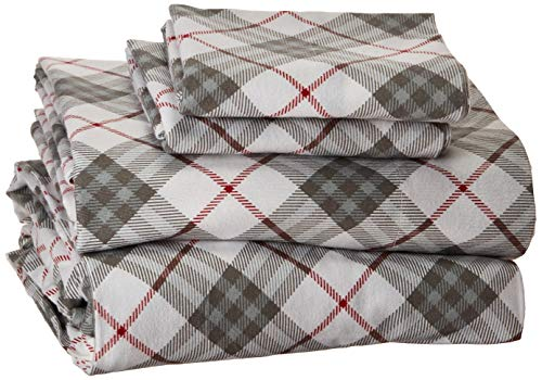 (True North by Sleep Philosophy Cozy Flannel Queen Bed Sheets, Casual Red Plaid Bed Sheet, Bed Sheet Set 4-Piece Include Flat Sheet, Fitted Sheet & 2 Pillowcases)