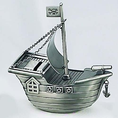Elegance Heim Concept Pewter Finish Pirate Ship Money - Bank Piggy Pirate