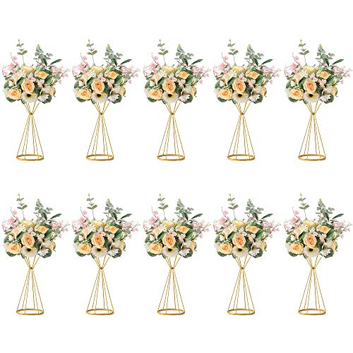 Sziqiqi Set of 10 Geometric Metal Flower Column Stand for Wedding Reception Tables, Artificial Flower Road Lead Vase, Centerpieces Decoration for Party Birthday Events Festival Celebration, Style 1