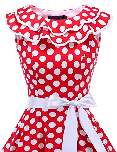 Vintage Robe Encolure 50 sans Cocktail Dot soire White Manches annes de volante Bridesmay Red FaIqp6wI