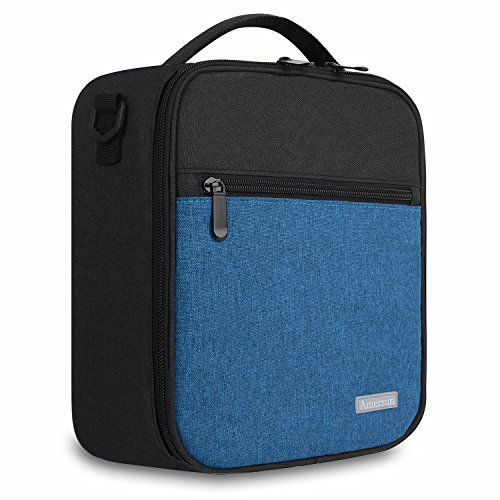 Boy Lunch - Amersun Lunch Bag with Firm Foil,Reusable Leak Proof Insulated Oxford Lunch Box School Cooler Picnic Holder with Shoulder Strap for Kids Boys Men Women Girls,Spill-resistant (Black Blue)