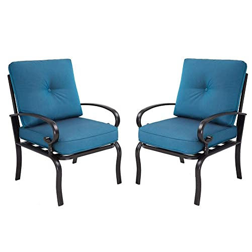Oakmont Outdoor Furniture Bistro Chairs Set of 2 Wrought Iron Furniture Set, a Pair of Garden Seating Chair, All-Weather Patio Furniture, Peacock Blue