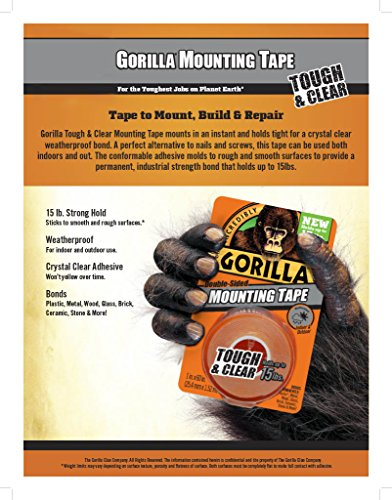 Gorilla 6065001-6 Double-Sided Tough and Clear Mounting Tape (6 Pack), 1'' x 60'', Clear by Gorilla (Image #1)