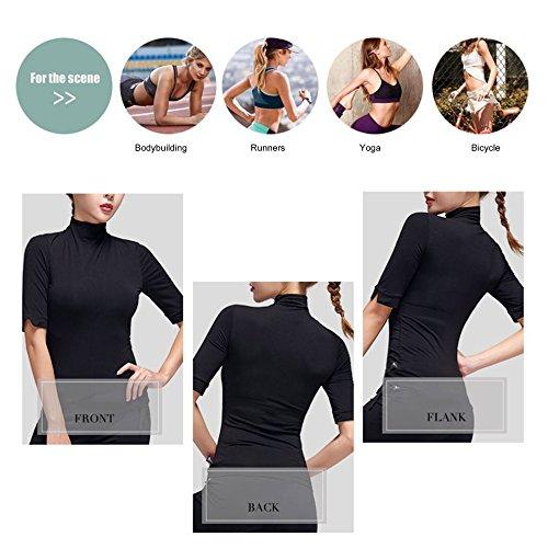 Tmalltide Pieryoga Women High Collar Yoga Tops Active Running Shirt with Middle Sleeve by Tmalltide