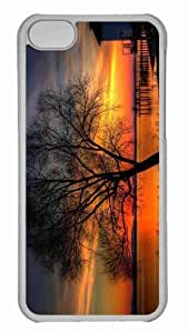 Customized iphone 5C PC Transparent Case - Tree And Sunset Hdr Personalized Cover