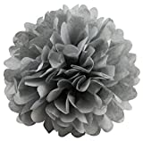 BalsaCircle 12 pcs Silver 16-Inch wide Paper Pom Poms Balls - Wedding Bridal Event Birthday Party Decorations Supplies