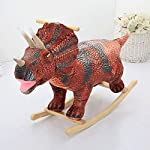 ZFF Rocking Horse Wooden,Animal Rocker Chair Handmade Christmas Decorations Dinosaur for Baby 1-4 Year Old