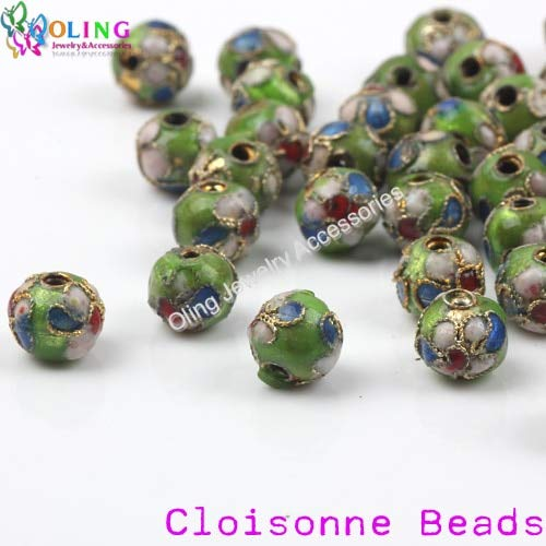 Cloisonne 8mm Beads - Calvas 8mm Cloisonne Ball Beads 24PCS Multicolor Mixing Spacer Copper Beads for DIY Crafts & Charm Bracelet Jewelry Making - (Color: JTL 8MM 24PCS 02)