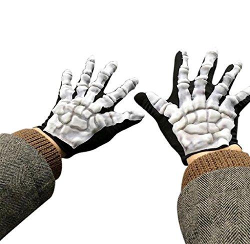 [Shensee Halloween Skull Bone Skeleton Goth Cool Racing Full Finger Gloves Black] (Infant Racing Halloween Costume)
