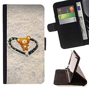 For Samsung Galaxy A3 - Love Cute Heart Bear /Funda de piel cubierta de la carpeta Foilo con cierre magn???¡¯????tico/ - Super Marley Shop -