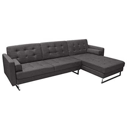 Superbe Opus Convertible Tufted RF Chaise Sectional By Diamond Sofa   GREY,  Includes Left Face Sofa