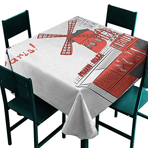 Anti-Fading Tablecloths Paris Sketch Art of Urban Landscape with Cabaret Moulin Rouge in Paris Modern City for Events Party Restaurant Dining Table Cover 50x50 Inch Orange Grey White ()