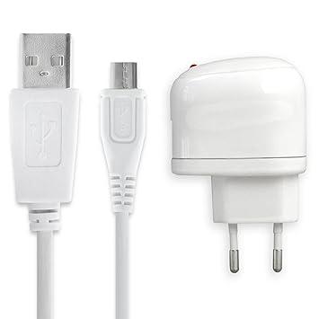 subtel® Cargador - 1m (1A) para Garmin Nüvi / Dezl / NüLink! / Camper / Zumo / Edge / Fleet (5V / Micro USB)  Cable de carga blanco
