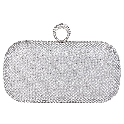 ILILAC Ring Clutch Purse Crystal Large Evening Handbags (Silver Large Crystal Ring)