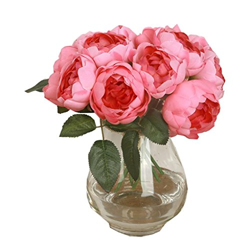Fullkang 1 Bouquet 6 Heads Artificial Peony Silk Flower Leaf Home Wedding Party Decor (Hot Pink) (White Vases In Bulk)